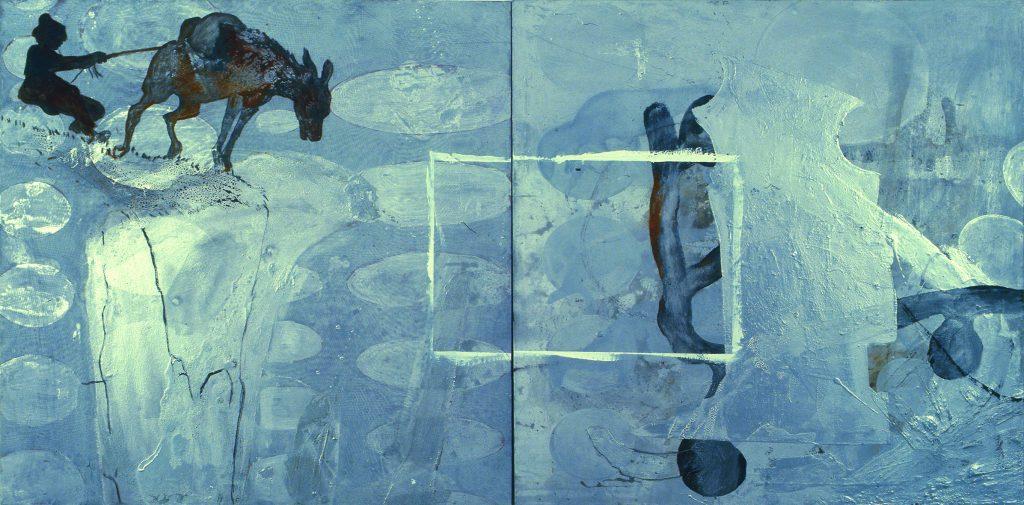 Miner (Díptico com homem, mula e retângulo pintado)
